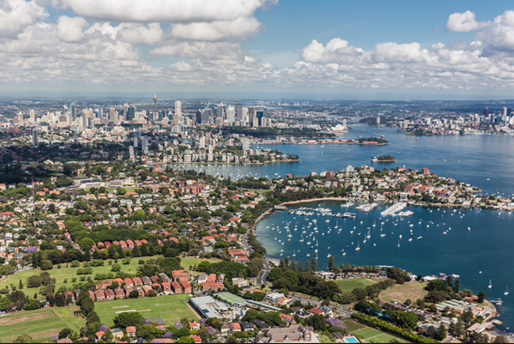 Aerial shot of the Eastern suburbs of Sydney's CBD