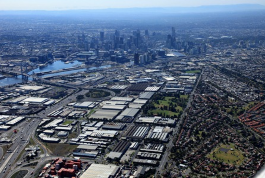Fishermans Bend aerial shot